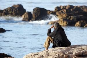 penseur sur rocher